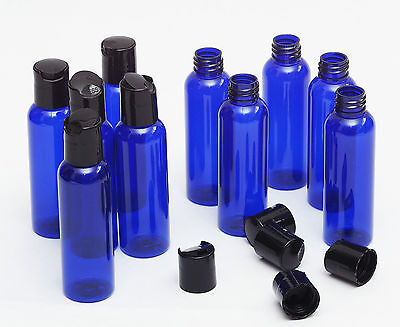 Brand New 8 Oz Empty  Plastic Blue PET Bottles with Dispensing cap ( 10 PACK )