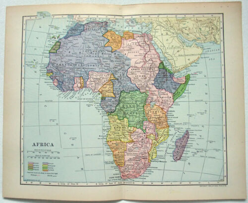 Colonial Africa - Original 1908 Map by Dodd Mead & Company. Antique