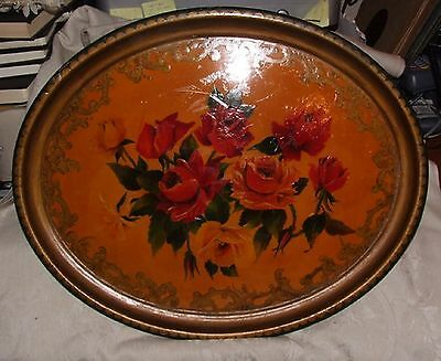 LARGE Vintage 16 x 20 1940s Wood Oval TRAY Artisan Hand Painted ROSES Lacquered