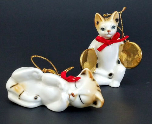 Lot of 2 Vintage Bone China Cats Christmas Tree Ornaments