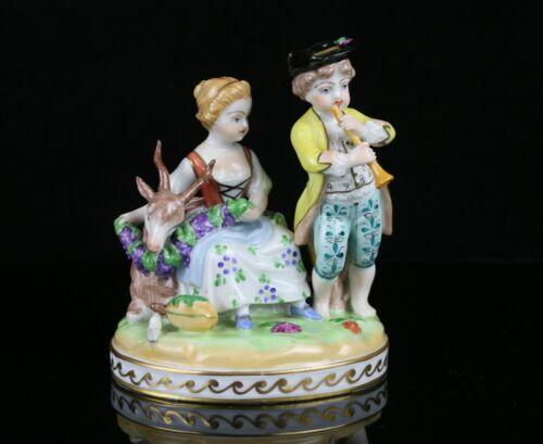 Vintage SP Dresden Porcelain Figurine ~ Man & Woman w/ Goat