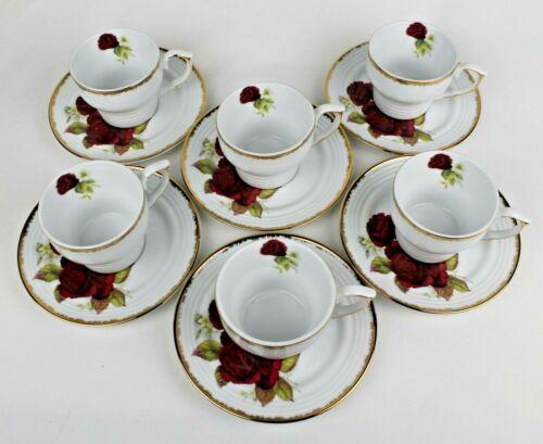 Auratic China 6 Tea Coffee Cups & 6 Saucers - Red Rose Design, Gold Trim