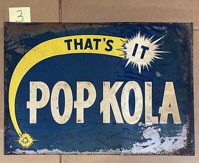 Pop Kola Sign, Vintage 1930's Or 1940's, Soda, Soft Drink, Cola, #3 For Sale