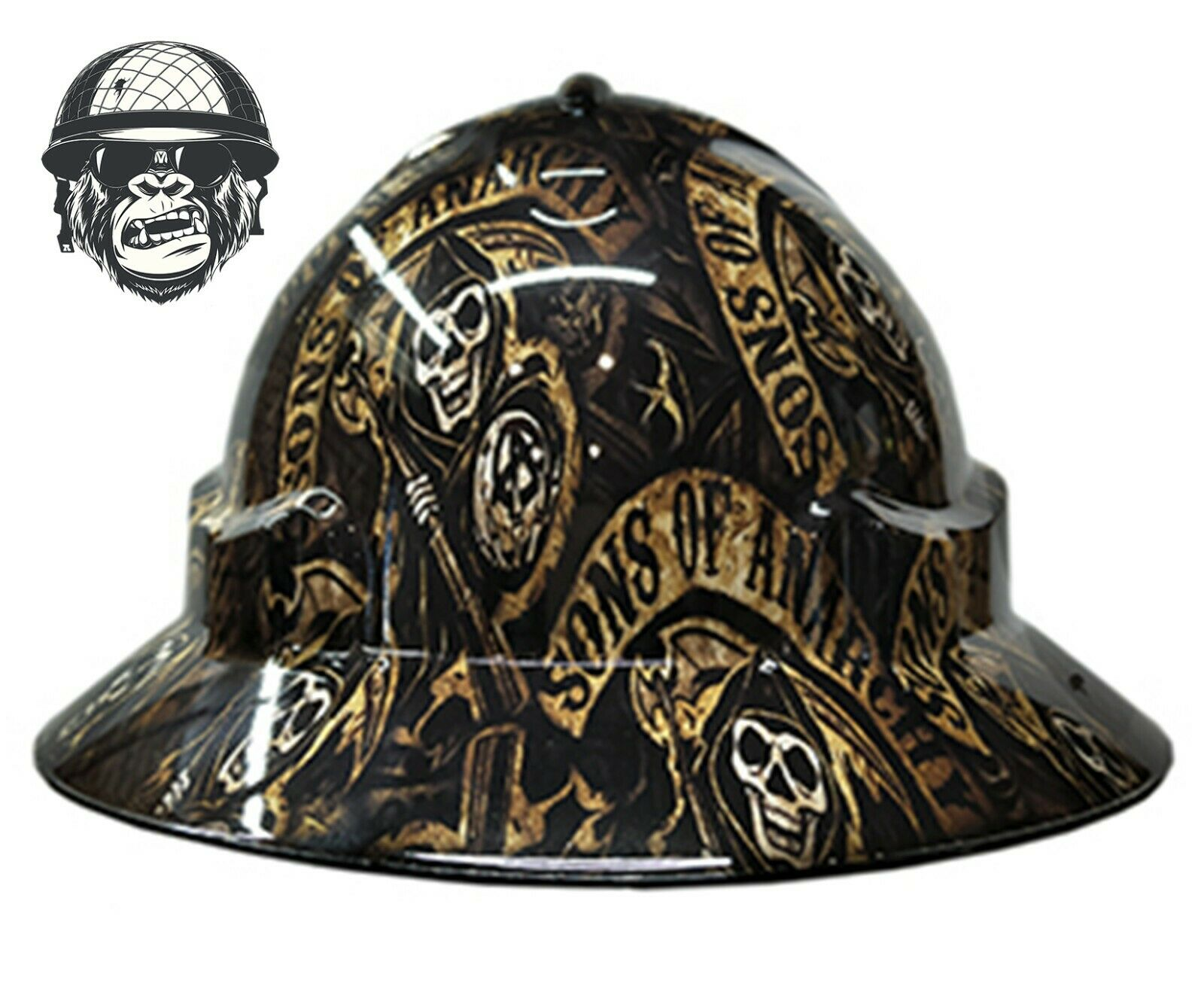 Custom Hydrographic Wide Brim Safety Hard Hat Mining SONS OF ANARCHY WIDE