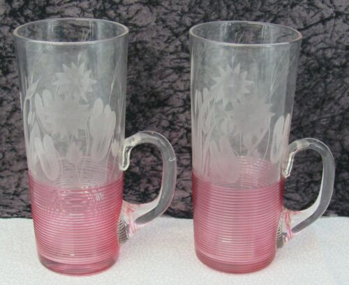2 Antique Boston & Sandwich Cranberry Threaded & Etched Blown Glass Horn Glasses