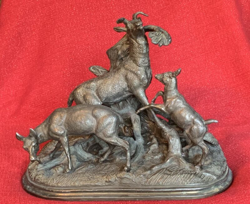 Antique Black Forest Animal Group Spelter Mantel Clock Statue