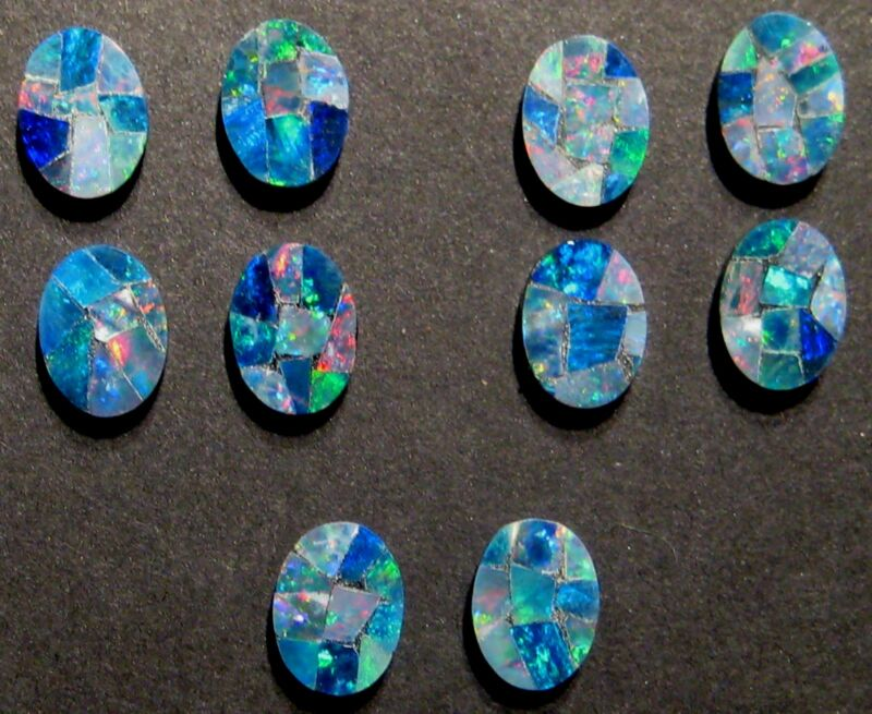 5 pairs of Australian Opal Mosaic Doublets