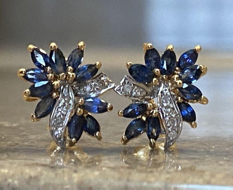 Vintage 14K Yellow Gold Blue Sapphire & Diamond Cluster Earrings