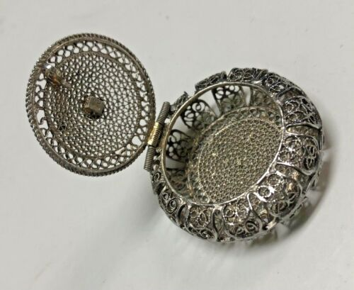 Antique 800 Silver Filigree Hinged Trinket Rosary Ring Box