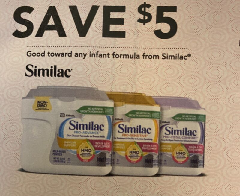 $15 Similac baby coupons Exp 10/8/21, 11/5/21 & 12/3/21. $20 In Extras Included.