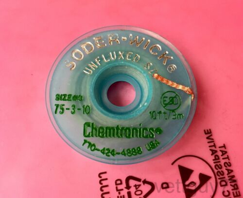 """Chemtronics Soder-wick #3 AS Unfluxed Desoldering Braid Wick, 2.0mm, 0.080"""", 10"""