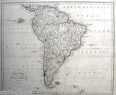 1796 SOUTH AMERICA from the Best Surveys JOHN REID * RARE Early