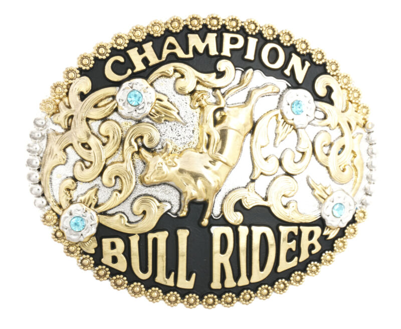 Champion Cowboy Bull Rider Western Metal Belt Buckle