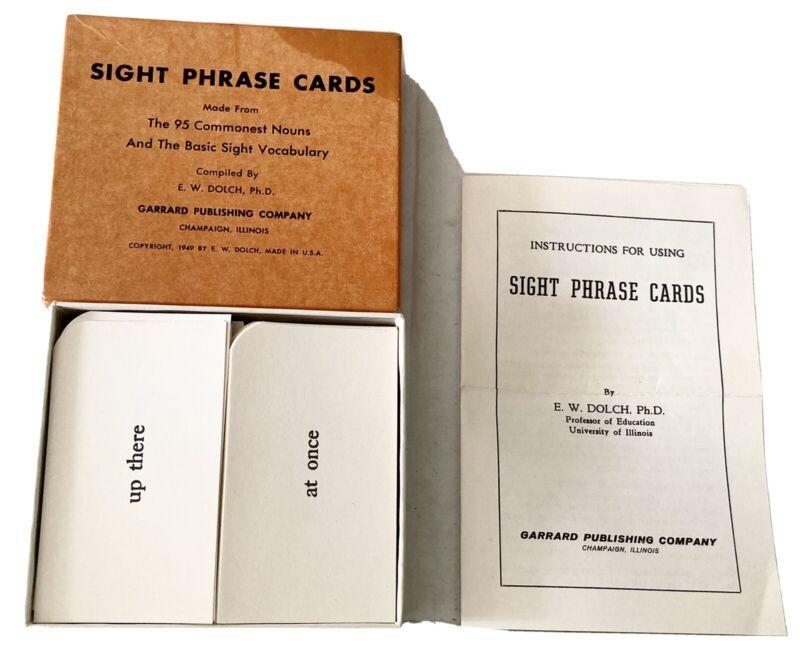 Sight Phrase Cards Vintage 1949 E.W. Dolch Garrand Publishing Original Box