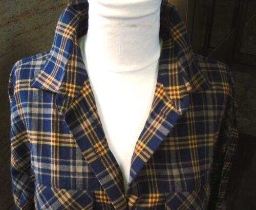 A Line Anne Klein 100% Cotton Shirt Blouse Dark Blue Mustard Burgundy L/S 10 NWT