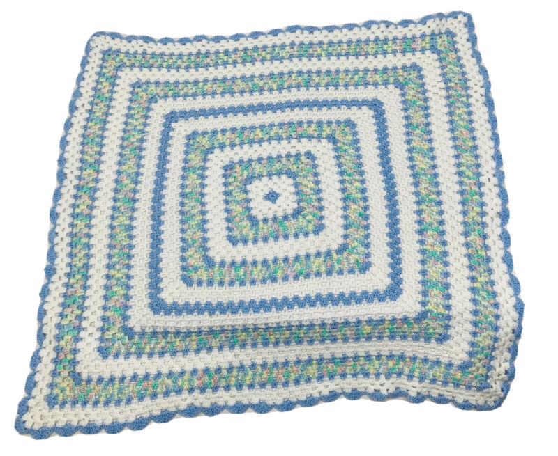 """Hand Crochet Baby Blanket Afghan Granny Square Style Scallop Edge 37"""" x 37"""""""