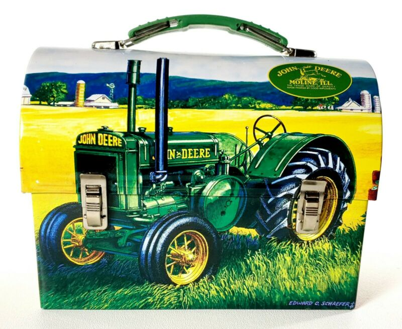 John Deere 2007 Edward C Schaefer Tin Lunch Box Vintage Tractor GREAT SHAPE