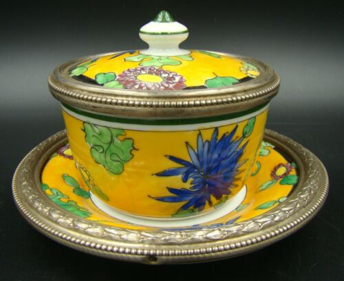 FRENCH ART DECO MUSTARD POT Multicolor Porcelain & Sterling Mounts by Pillivuyt