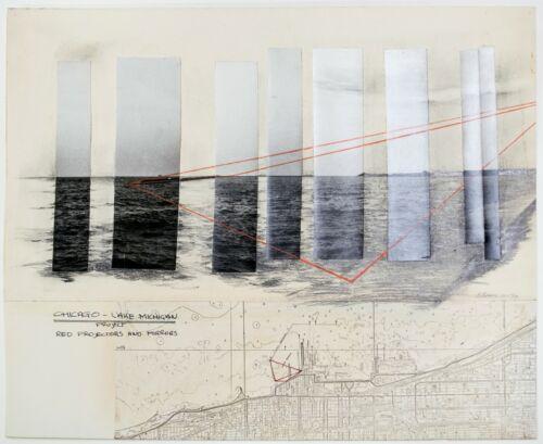 Ben Berns: Chicago- Lake Michigan Project, 1970. Signed, Mixed Media Drawing
