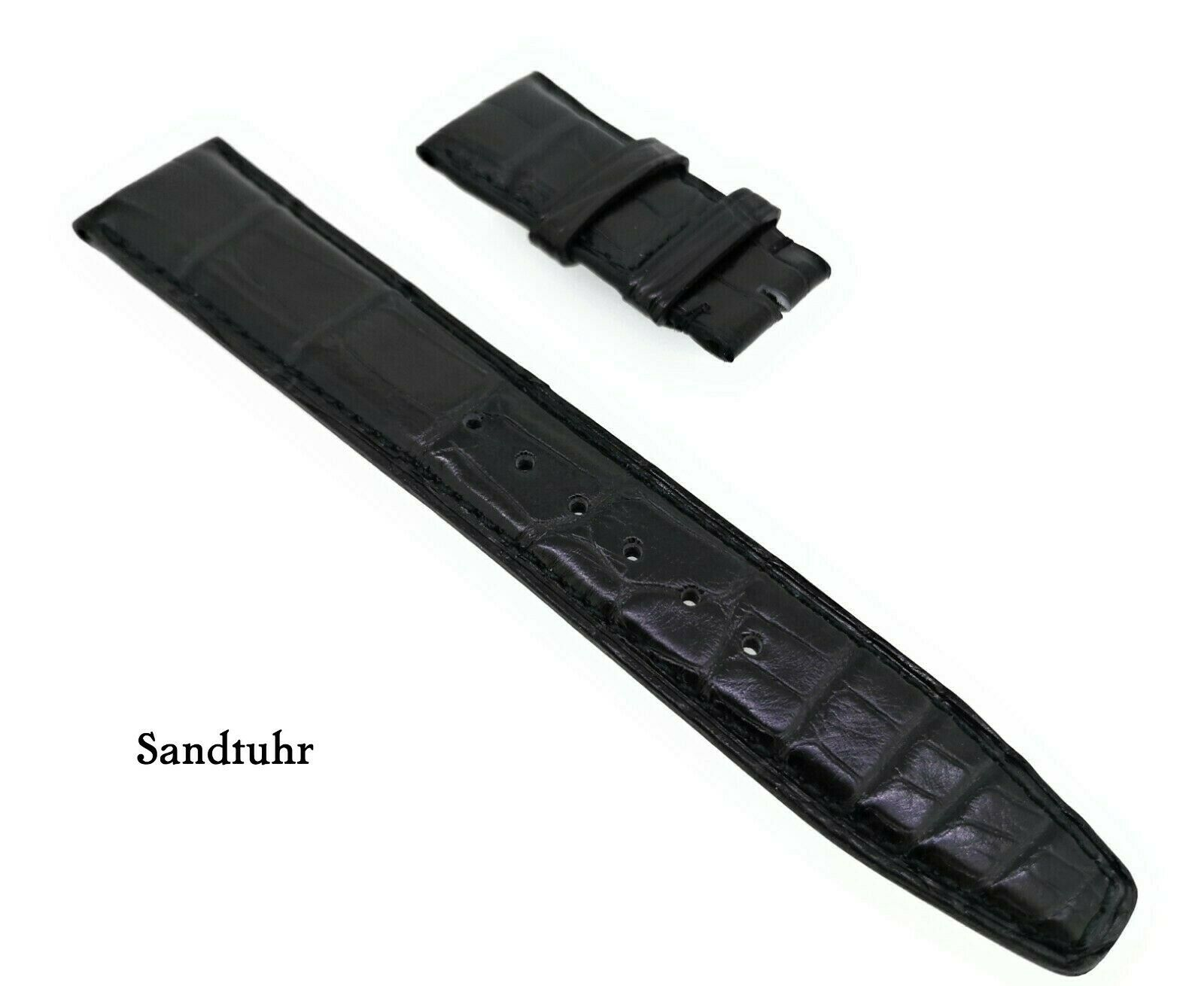 IWC Original XS Kroko Uhrenarmband schwarz 20/18 mm für Faltschliesse