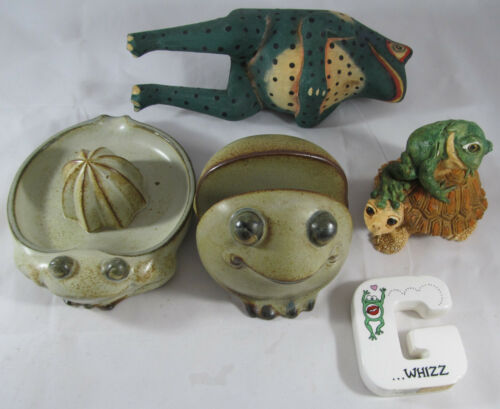 Ceramic, Metal, and Wood Frog Figurines, Lot of 5