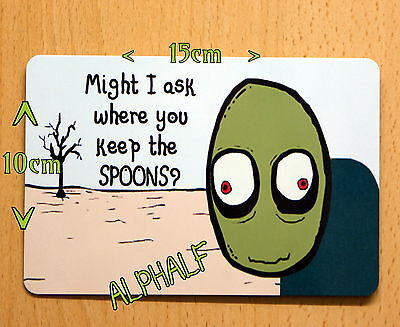 Salad fingers Spoons Ali Sign OR large fridge magnet 15x10cm Cult, Fun, Gift