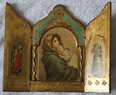 Italian Madonnina Icon, Three panel, Florence, Feruzzi