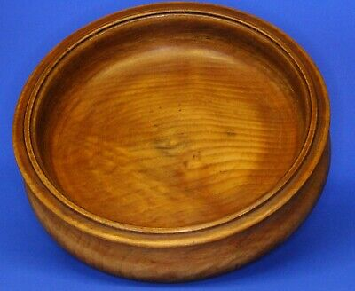 Vintage treen turned solid Wood Fruit Bowl, 26cm 1.3kg *[21020]