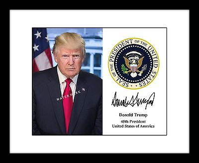 President Donald Trump Signed Presidential Seal Autograph 8X10 Photo Print Usa