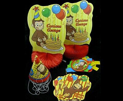 Curious George Party Set Happy Birthday Banner 8 Hats Honeycomb Centerpiece Deco - Curious George Birthday Banner
