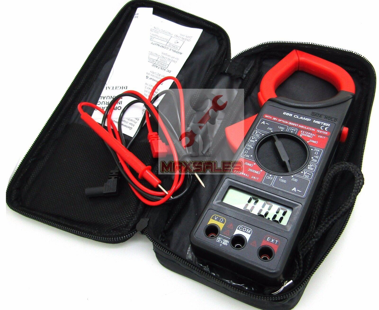 """Digital Clamp Meter AC/DC Current 1000AMP 1-3/4"""" LCD 4 Digit Clamp Meter Reader"""