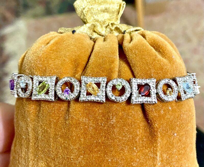 """💚ROSS SIMON  FESTIVAL OF COLOR  STER Bracelet ❤️EXCELLENT ‼️7.25"""" 👌"""