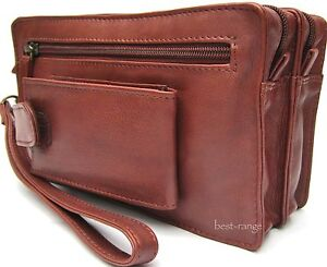 Mens Wrist Bag Travel Organiser Soft Real Leather Black or Brown Visconti BNWT