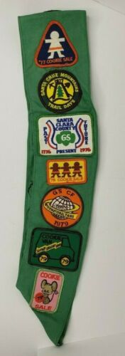 Vintage 1970s Girl Scout Sash 30 Patches 4 Star Pins Wings CALIFORNIA Troop 96