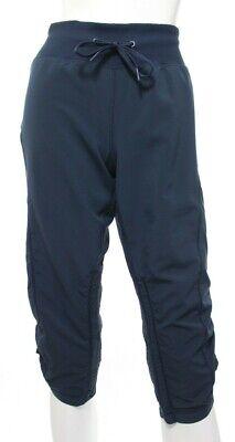 Zella Women's 8 Navy Blue Move It Capris Crop Pants Cropped Ruched Sides EUC