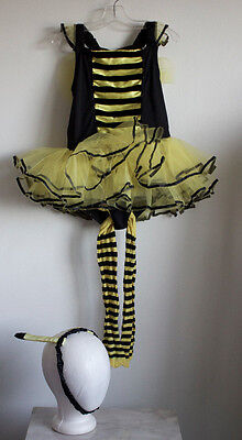 Puppet Workshop Bumble Bee Leotard Tutu Dress Antennae Bonus Tights M 6x-8 - Bumble Bee Leotard