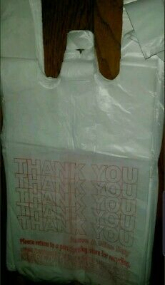 80 Small T-shirt Hdpe Thank You Plastic Shopping Grocery Bags 7x 5x 15 ....