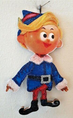 HERMEY the ELF from RUDOLPH REINDEER   * Glitter CHRISTMAS ORNAMENT * Vtg Img