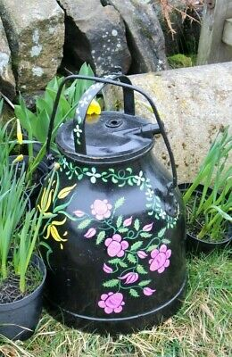 Vintage Milk Can Churn Painted Garden Flowers Pink Yellow French Shabby