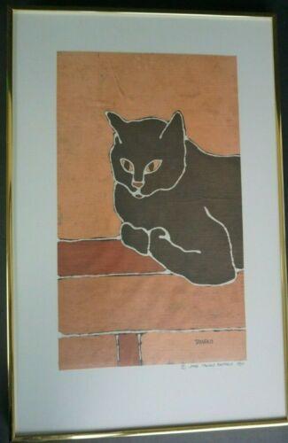 """1980 Jane Tamako Raffeld,  Black Cat on Wall, batik art, signed, 13.5""""x 20"""""""