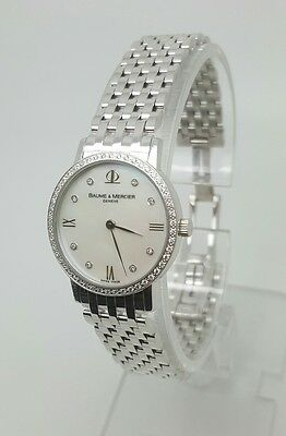 Woman's Baume and Mercier 18K White Gold Diamond Watch Mint Condition