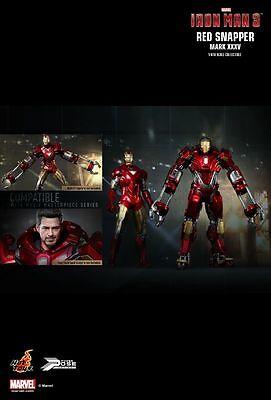 Hot Toys PPS 002 Iron Man 3 Mark 35 XXXV Red Snapper Power Pose Tony Stark NEW