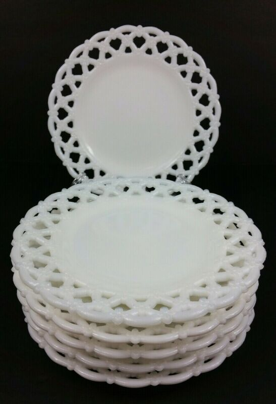 Set of 6 Vintage Westmoreland Forget Me Not Open Lace Milk Glass Luncheon Plates