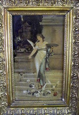 Jugendstil Bild in edlem Rahmen - erotische Darstellung - Mädchen füttert Tauben