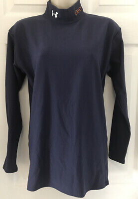 """NEW UNDER ARMOUR Cold Gear Sz L Fitted Women's Long Navy Sleeve Shirt """"HERSHEY"""""""
