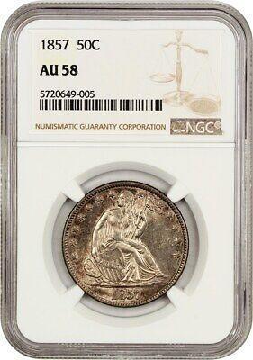 1857 50c NGC AU58 - Liberty Seated Half Dollar