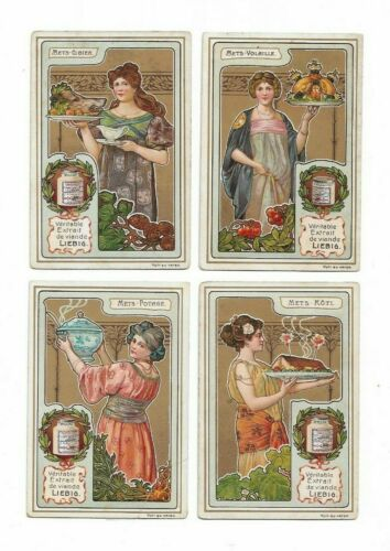 4 Victorian Trade Cards Art Nouveau Woman Cooking Liebig Advertising   L1
