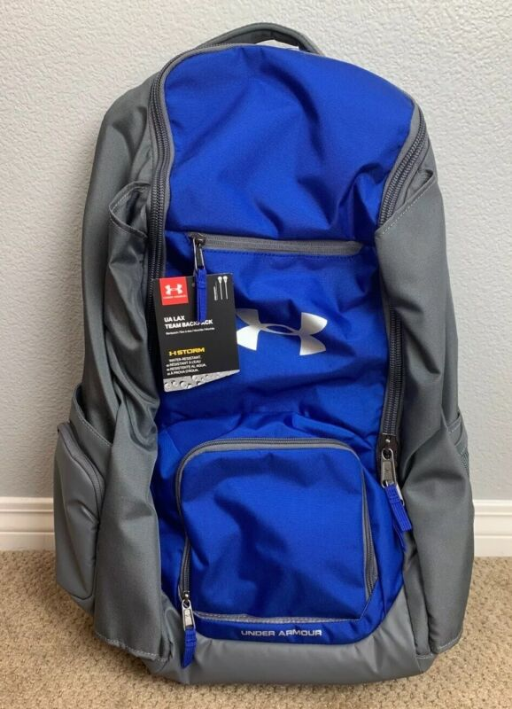 NWT Under Armour 2 Stick Lacrosse Equip Gear Backpack Bag Royal Blue $99