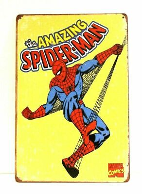 Spider-Man Comic Book Tin Metal Sign Vintage Style Advertising Store Spiderman