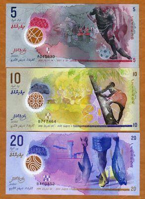 SET Maldives, 5;10;20 Rufiyaa, 2015 (2016) - 2017, Polymer UNC > New Design
